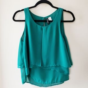 Divided Emerald Green Pleated Top